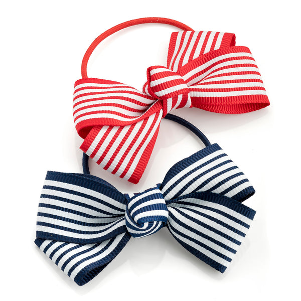 Two Piece Red & Navy Tone Bow Hair Elastic Set 7.5cm