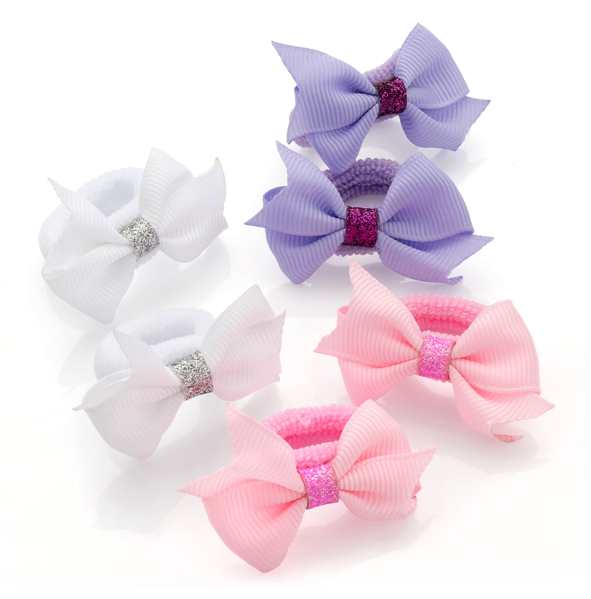 6 Pastel Colour and Glitter Grosgrain Ribbon Bow Ponio Set Hair Elastics 5cm bow