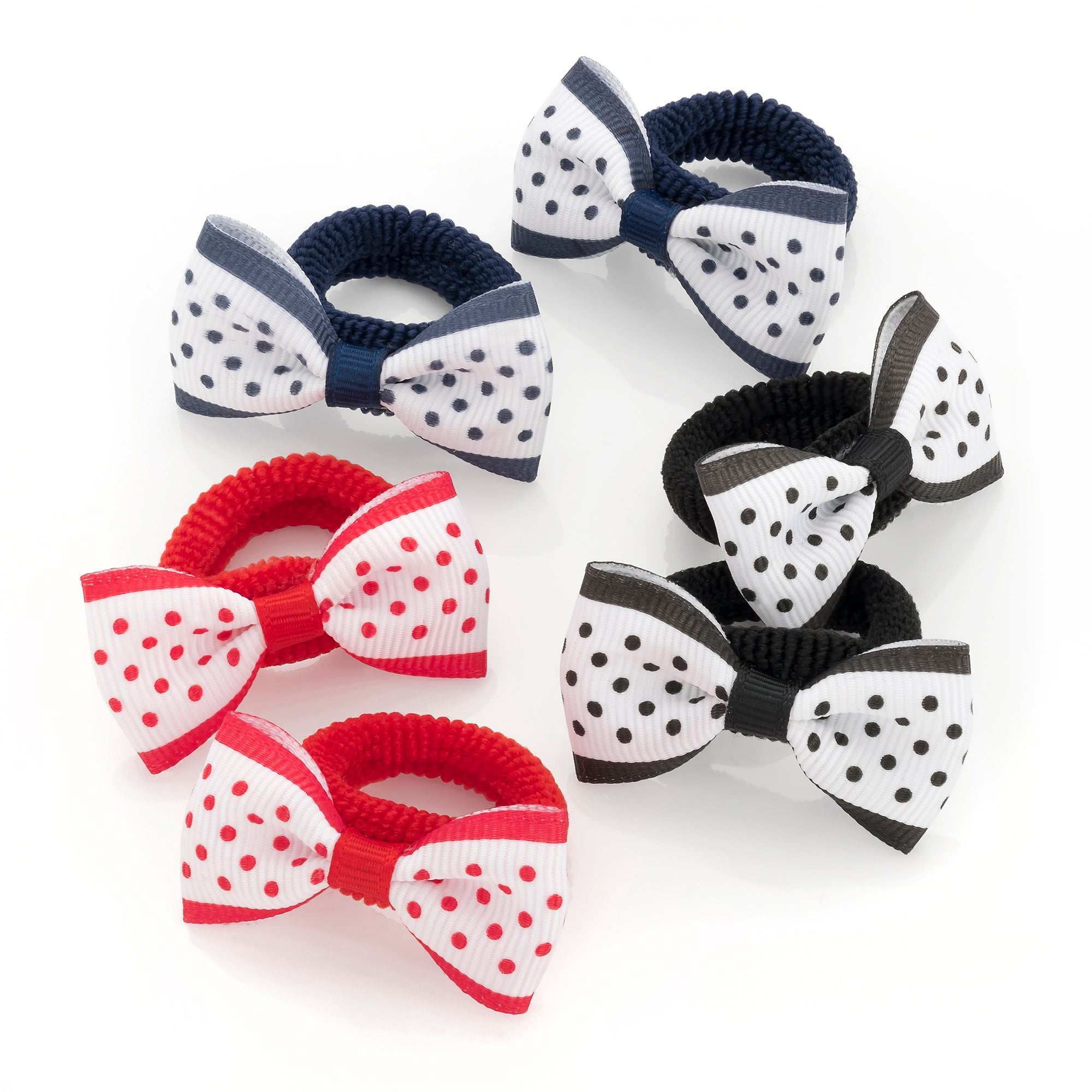 6 Navy, Red And Black Grosgrain Polka Dot Design Bow Hair Ponio Set 5cm bow