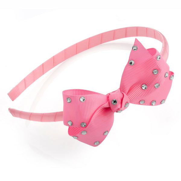 Girls Pink and Crystal Look 8.5cm Bow On Fabric Alice Band 8mm