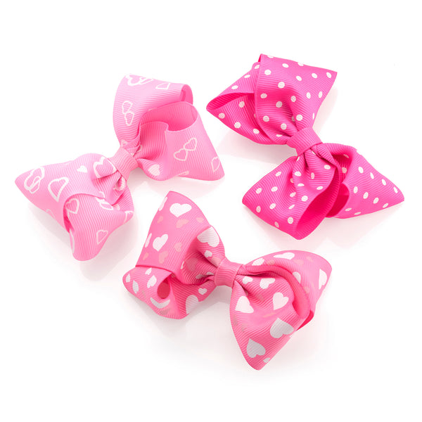 Three Piece Heart Design Bow on Hair Clip Set Pink & White 9.5cm