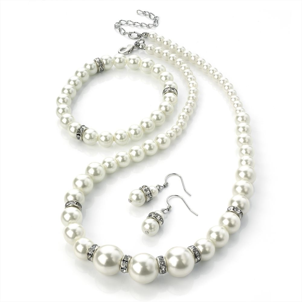 Three Piece Necklace, Earring & Bracelet Set - Crystal & Cream Faux Pearl 42cm Necklace