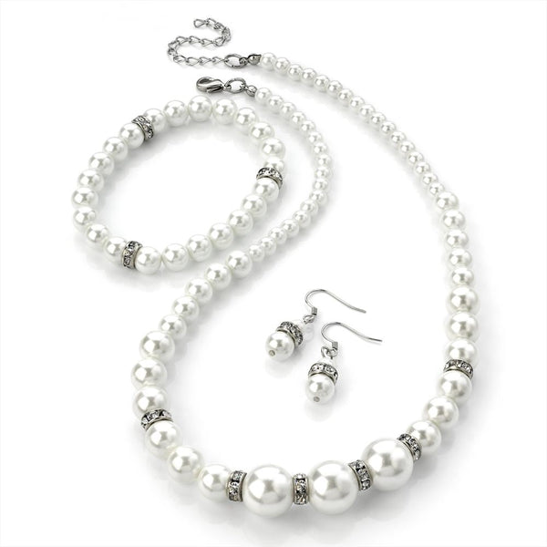 Three Piece Necklace, Earring & Bracelet Set - Crystal & White Faux Pearl 42cm Necklace