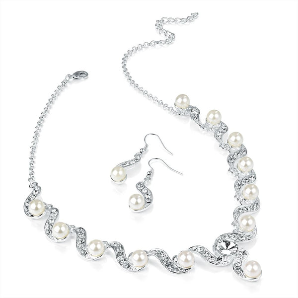 Two Piece Crystal Necklace & Earring Set - Silver & Pearl 41cm Necklace