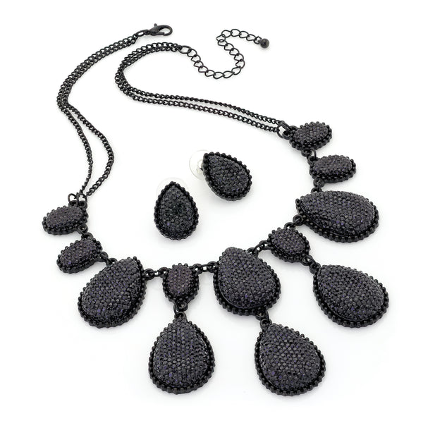 Black Enamel Jet Textured Bead 40cm Chain Necklace & 2cm Earring Set