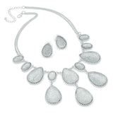 Silver Colour Bead 40cm Chain Necklace & 2cm Earring Set