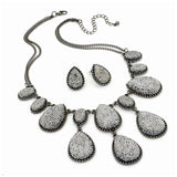 Shiny Hematite Bead 40cm Chain Necklace & 2cm Earring Set