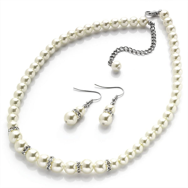 Two Piece Crystal Necklace & Earring Set - Silver & Pearl  47cm Necklace & 3cm Earring