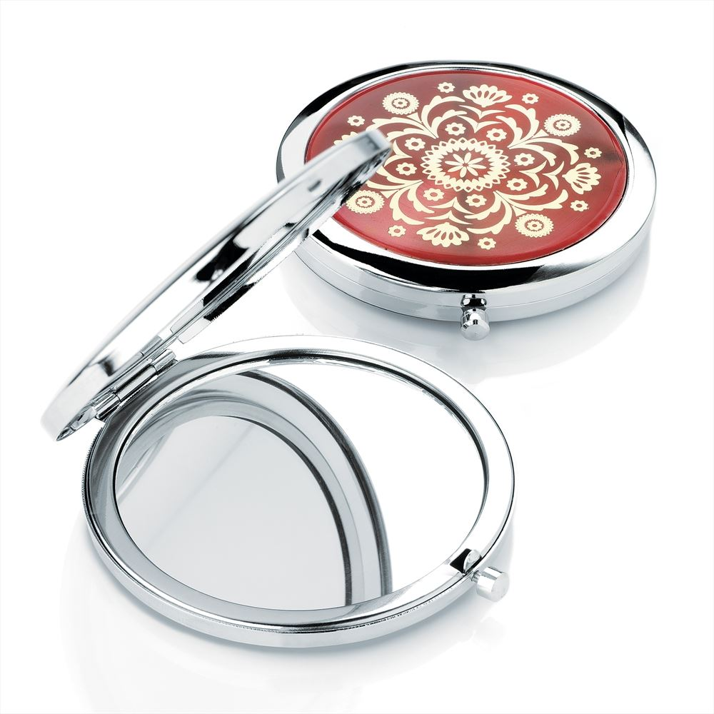 Round Compact Mirror With Gold Design - Rhodium & Red 7cm