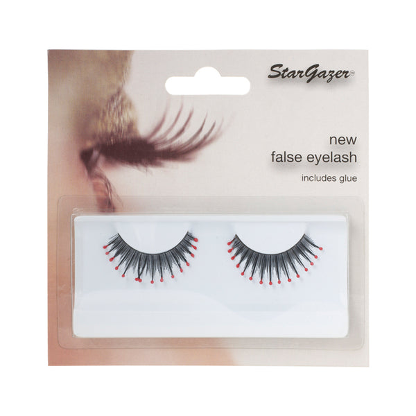 Stargazer False Feather Eyelashes No.40 Black and Red Beads