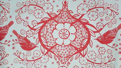 Stowe & so Table Cloth. Peach Blossom Design Red on Duck Egg Grey.