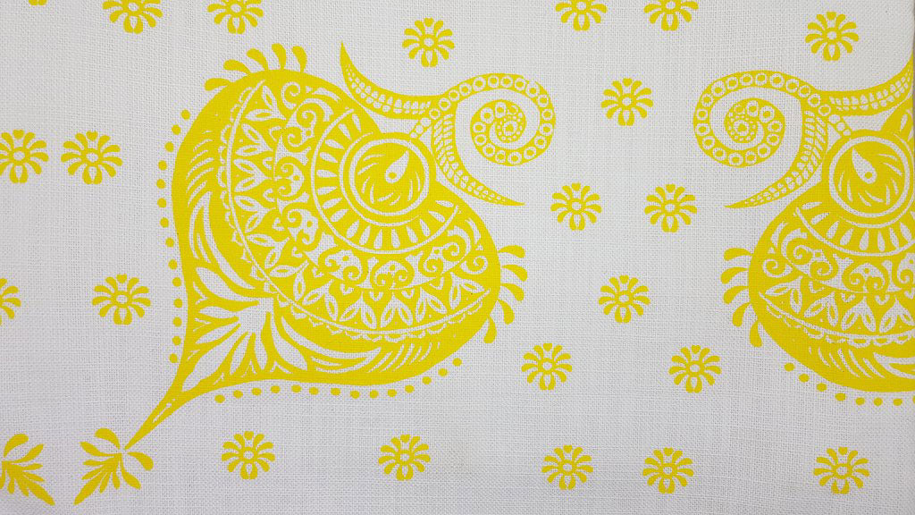 Stowe & so Table Cloth. Protea Paisley Design Bright Yelllow on White.