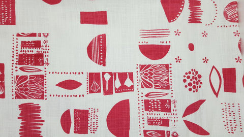 Stowe & so Table Cloth. Collectors Design Pink on White.