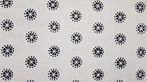 Stowe & so Table Cloth. Pollen Design Charcoal on Cream.