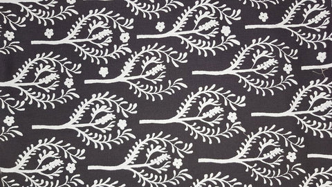 Stowe & so Table Cloth. India Design White on Charcoal