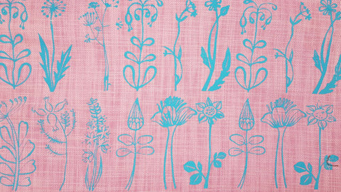 Stowe & so Table Cloth. Veld Design Blue on Pink