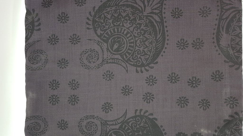 Stowe & so Table Cloth. Protea Paisley Design Charcoal on Charcoal.