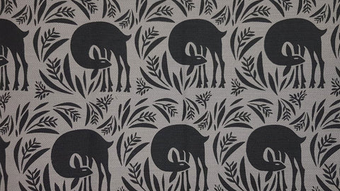 Stowe & so Table Cloth. Bushbuck Design Charcoal on Grey.
