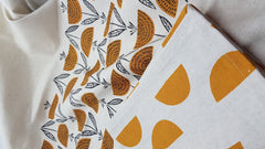 Stowe & so Tea Towel. Watermelon & Dandelion. Set of Two in Mustard.