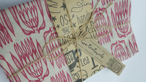 Stowe & so Tea Towel. Pointy Protea. Set of two.