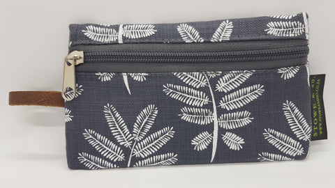 Stowe & so iPhone Bag. White Acacia Leaf on Dove Grey.
