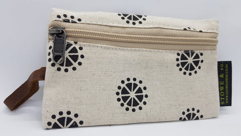 Stowe & so iPhone Bag. Charcoal Acacia Blossom on Stone.