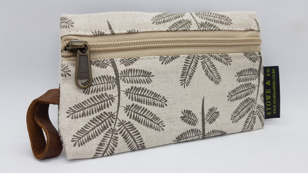 Stowe & so Phone/Purse Pouch. Light Grey Acacia Leaf on Stone.