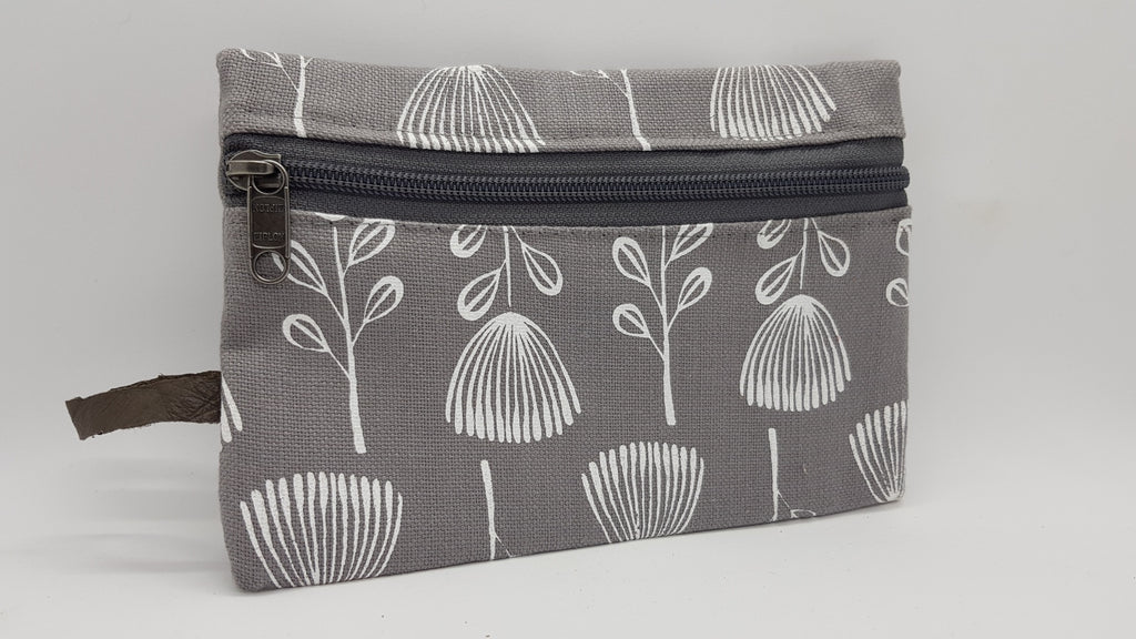 Stowe & so Phone/Purse Pouch. White Pin Cushion Protea on Dove Grey.