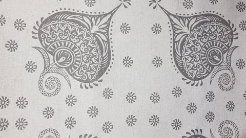 Stowe & so Table Cloth. Protea Paisley Grey on Stone. 2m.