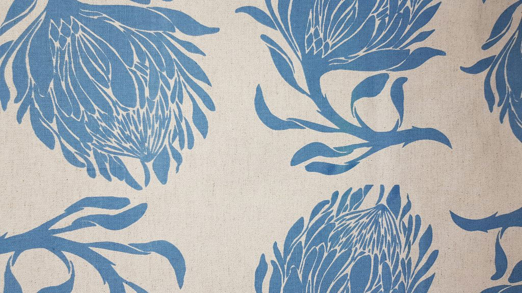 Stowe & so Table Cloth. King Protea Blue on Stone. 2.5m