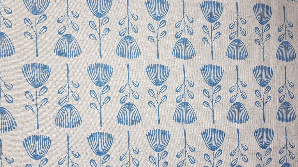 Stowe & so Table Cloth. Pin Cushion Protea Blue on Stone. 3m.