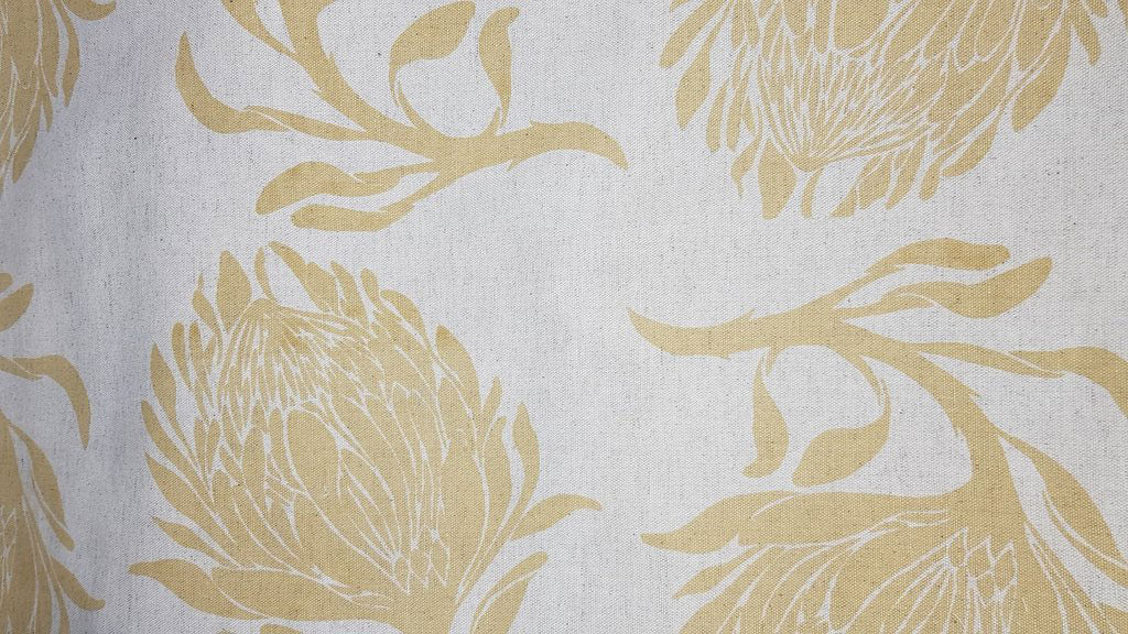 Stowe & so Table Cloth. King Protea Light Mustard on Stone. 2m.