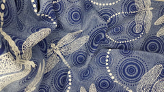 Stowe & so Table Runner. Dragon Fly and Ripple on blue.