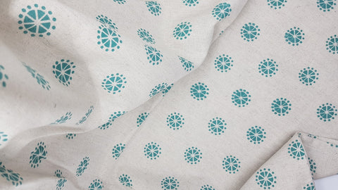 Stowe & so Table Runner. Acacia Blossom Teal on Stone.