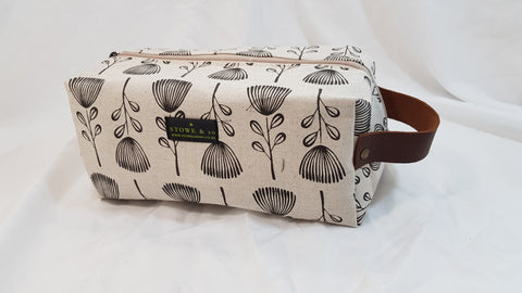 Stowe & so Unisex Vanity Bag. Pin Cushion Protea Charcoal on Stone.