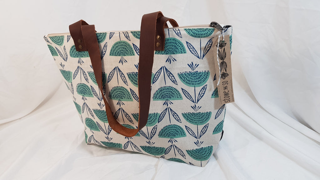 Stowe & so Me Bag. Dandelions and Watermelons in Blue on Stone.