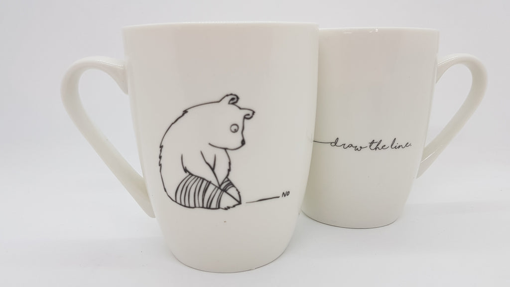 Stowe & so Mug Draw The Line Bear