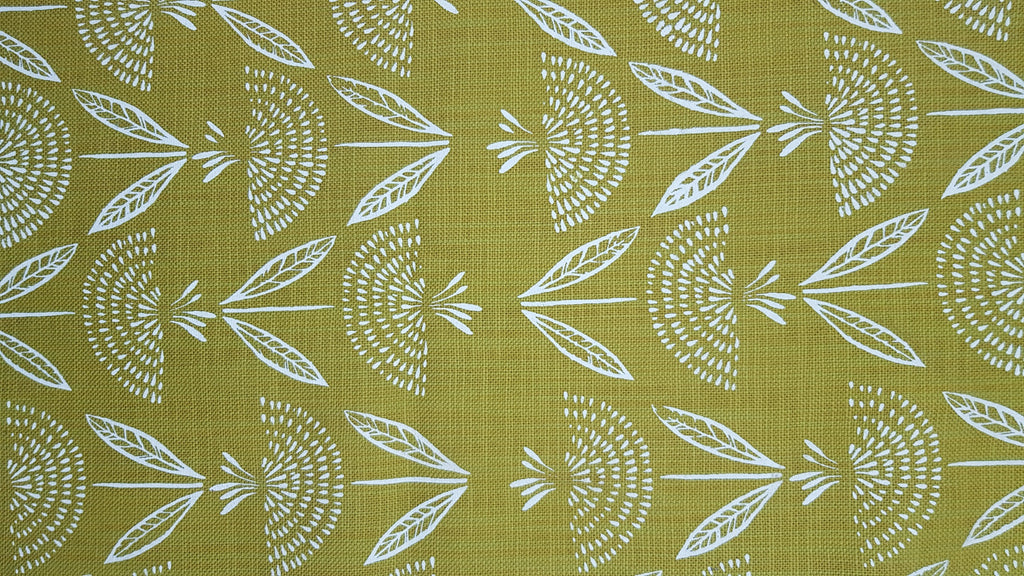 Stowe & so Table Runner. Dandelion in White on Mustard.