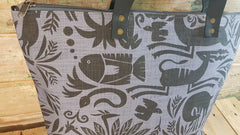 Stowe & so Me Bag. Fever Tree in Charcoal on Dove Grey.