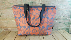 Stowe & so Me Bag. Retro Daisy in Orange on Grey.