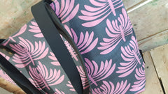 Stowe & so Me Bag. Euphorbia in Pink on Charcoal.