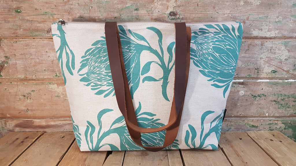 Stowe & so Me Bag. King Protea in Teal on Stone.