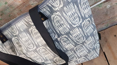 Stowe & so Me Bag. Protea Repeat in Cream on Grey.