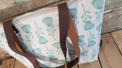 Stowe & so Me Bag. Pin Cushion Protea in Teal on Stone.