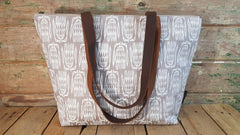 Stowe & so Me Bag. Protea Repeat in White on Grey.