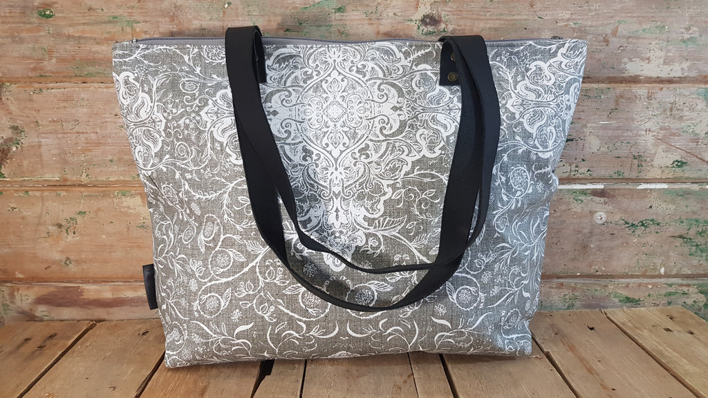 Stowe & so Me Bag. Exotics in White on Grey.