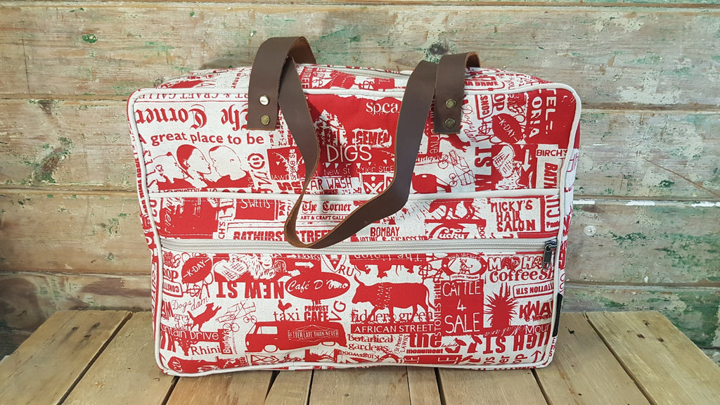 Stowe & so Laptop or Overnight Bag. Grahamstown Design in Red on Stone.