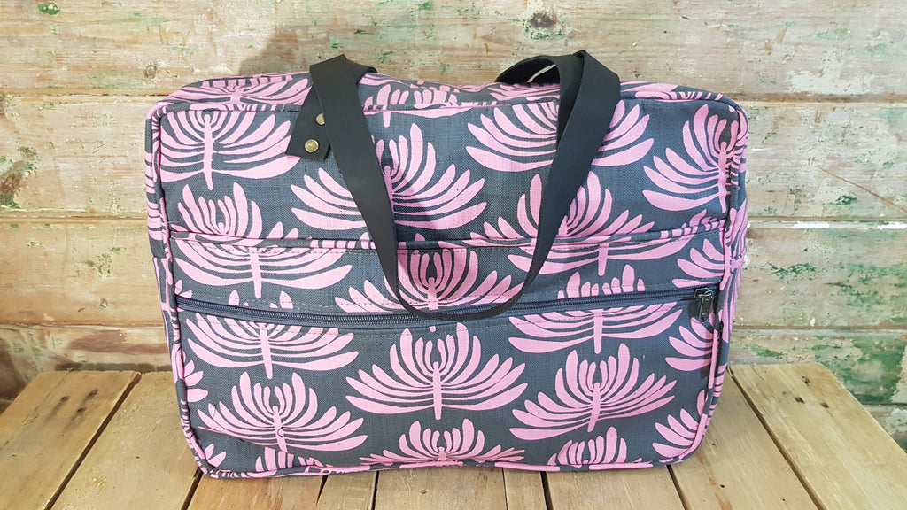 Stowe & so Laptop or Overnight Bag. Euphorbia in Pink on Charcoal.