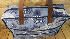 Stowe & so Laptop or Overnight Bag. Dragonfly and Ripple in White and Blue.