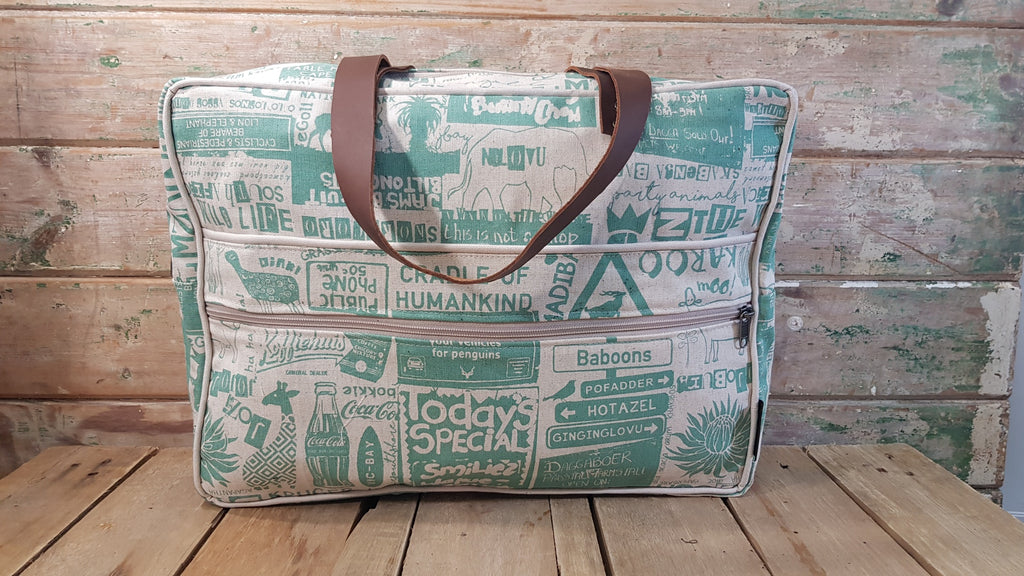 Stowe & so Laptop or Overnight Bag. Cape to Karoo in Teal on Stone.